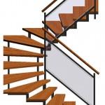 halbgewendelte Treppe 3D