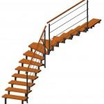 viertelgewendelte Treppe 3D
